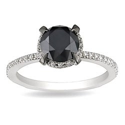 Miadora 10k White Gold 2ct TDW Black and White Diamond Halo Ring (G-H, I2-I3)
