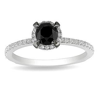 Miadora 10k White Gold 1ct TDW Round Black and White Diamond Ring (G-H, I2-I3) with Bonus Earrings