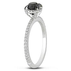 Miadora 10k White Gold 1ct TDW Round Black and White Diamond Ring (G-H, I2-I3)