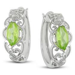 Miadora Sterling Silver Peridot Hoop Earrings