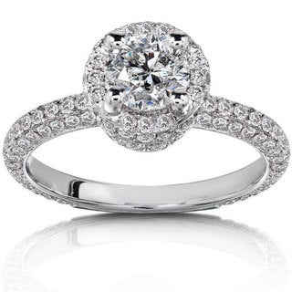 Annello 14k White Gold 1 1/2ct TDW Diamond Halo Engagement Ring (H-I, I1-I2)