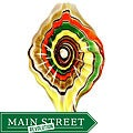 Murano Inspired Glass Yellow, Orange and Green Ripple Leaf Pendant