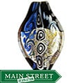 Murano Inspired Glass Black, Silver, White and Blue Leaf Pendant