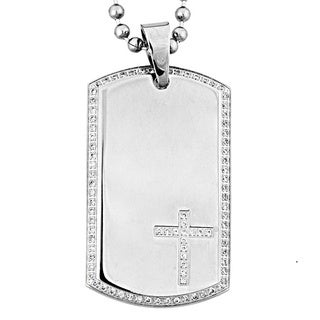 Crucible Stainless Steel Cubic Zirconia Dog Tag Cross Necklace