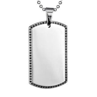 Crucible Stainless Steel Black Edge Dog Tag Necklace