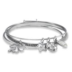 West Coast Jewelry Silvertone Beaded Charm Bangle Bracelets (Set of 3)