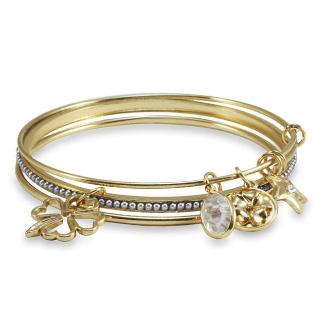 Goldtone Beaded Three-piece Dainty and Feminine Charm Bangle Set
