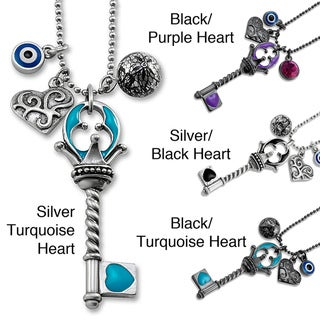 West Coast Jewelry Silvertone Multi-charm Blue Key Evil Eye 18-inch Pendant Necklace