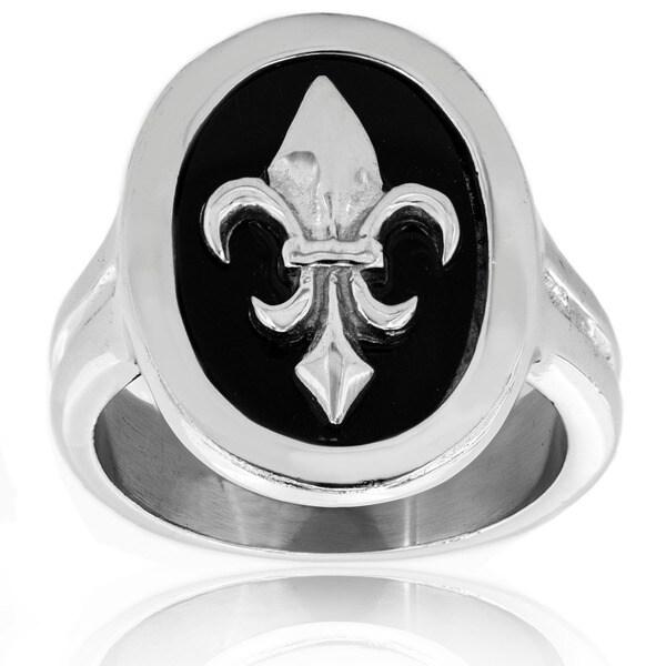 Stainless Steel Black Resin Fleur De Lis Ring