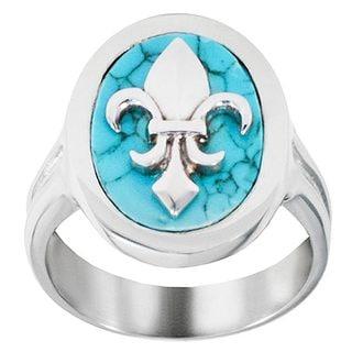 Stainless Steel Turquoise Fleur De Lis Ring