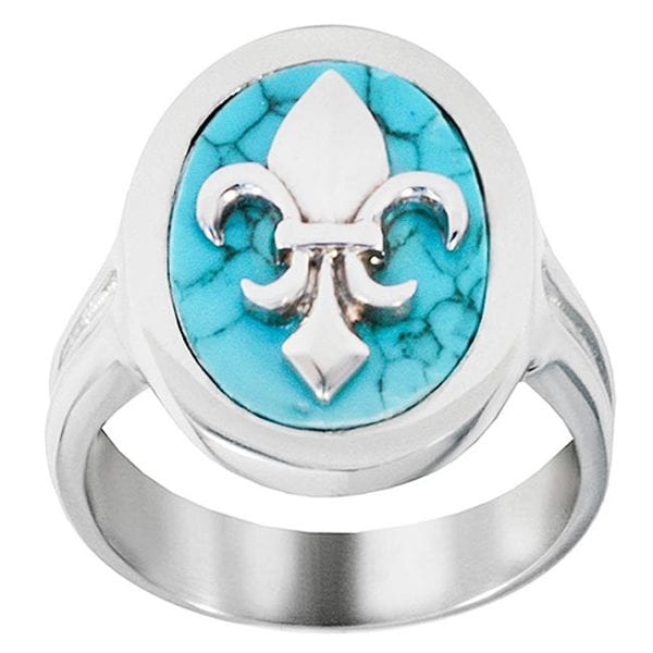 Stainless Steel Turquoise Fleur De Lis Ring