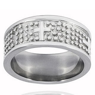 West Coast Jewelry Stainless Steel Textured Cross Ring