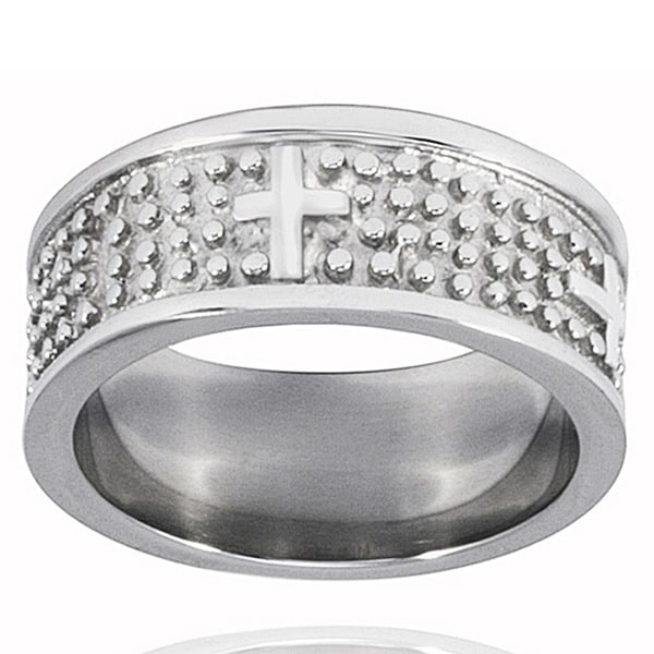 Stainless Steel Textured Cross Ring