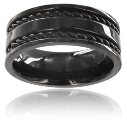 West Coast Jewelry Stainless Steel Black Double Cable Inlay Ring