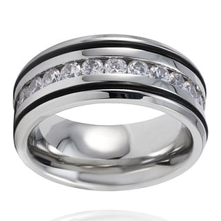 Crucible Stainless Steel Polished Cubic Zirconia Inlay Ring