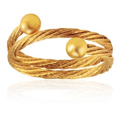 West Coast Jewelry Goldplated Stainless Steel Rope Design Ring