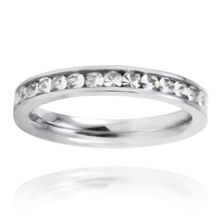 Stainless Steel Crystal Polished Eternity Band