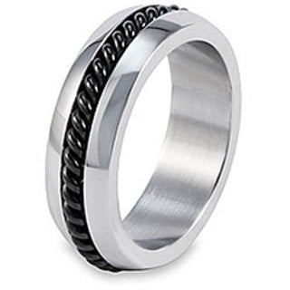 Crucible Stainless Steel Twisted Cable Inlay Ring