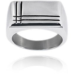 West Coast Jewelry Stainless Steel Polished Groove Ring