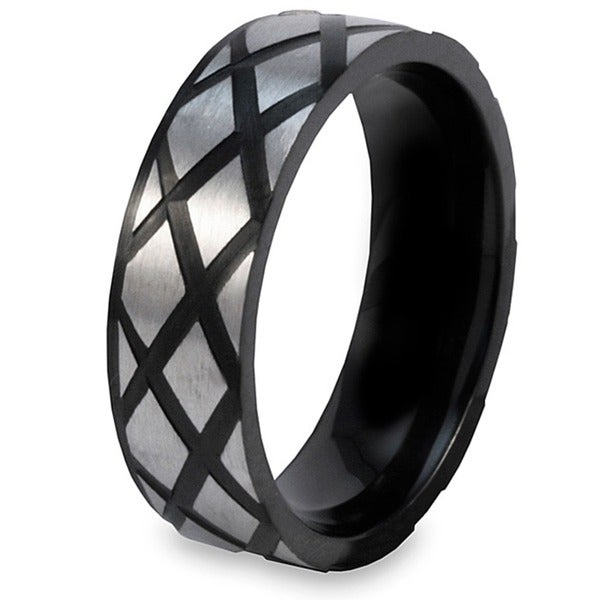 Men's Crucible Stainless Steel and Black-plated Diamond Design Ring