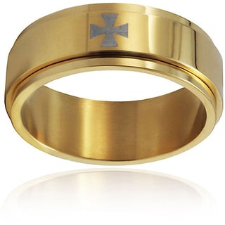 Crucible Stainless Steel Goldplated Silver Cross Ring