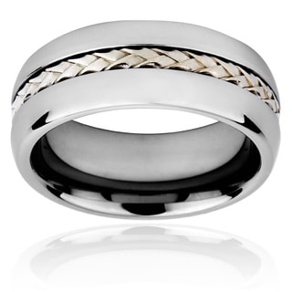 Crucible Men's Tungsten Carbide Rope Inlay Ring
