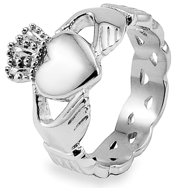 Crucible Stainless Steel Men's Celtic Eternity Claddagh Ring