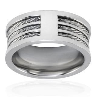West Coast Jewelry Stainless Steel Triple Cable Inlay Ring