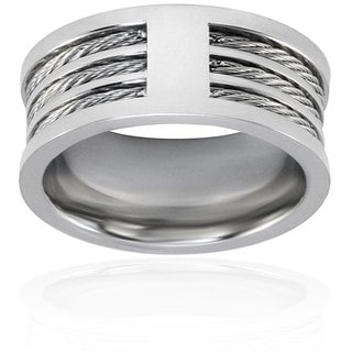 Stainless Steel Triple Cable Inlay Ring