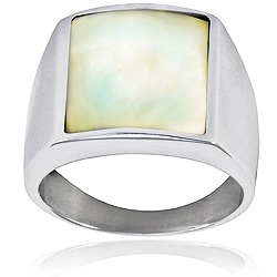 Stainless Steel Men's Mother of Pearl Signet Ring