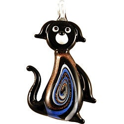 Murano Inspired Glass Black and Gold Puppy Dog Pendant