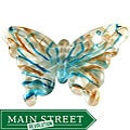 Murano Inspired Glass Aqua Blue and Gold Butterfly Pendant