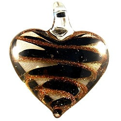 Murano Inspired Glass Clear, Black and Gold Swirl Heart Pendant