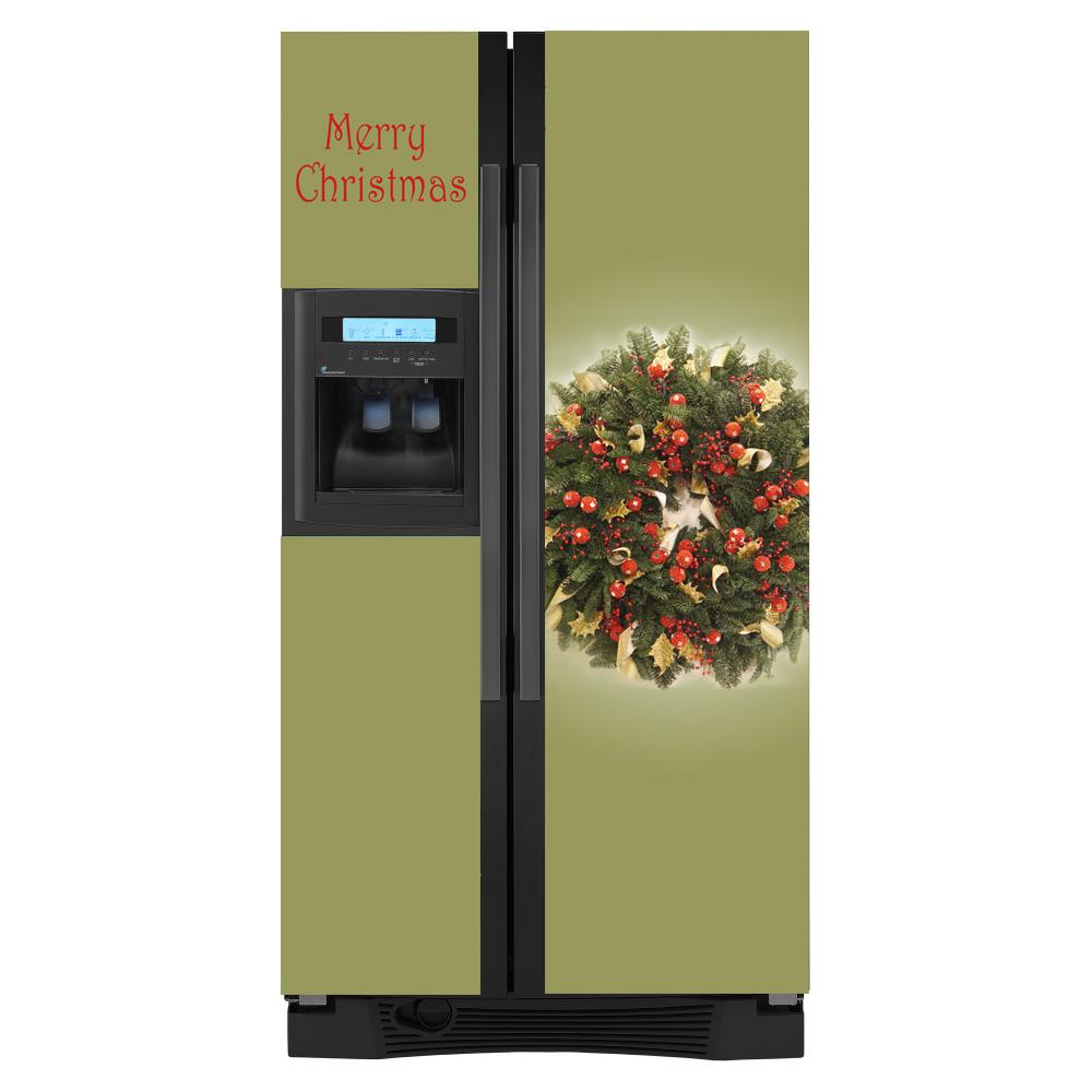 Appliance Art Holiday Wreath Side-by-side Refrigerator Cover
