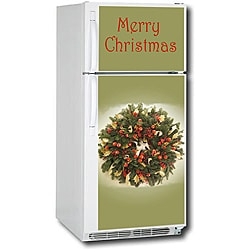Appliance Art Holiday Wreath Top/ Bottom Refrigerator Cover