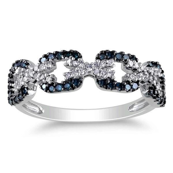 Miadora 10k White Gold 3/8ct TDW Blue and White Diamond Ring 7249206