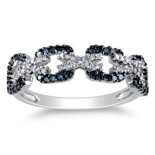 Miadora 10k White Gold 3/8ct TDW Blue and White Diamond Ring (G-H, I2-I3)