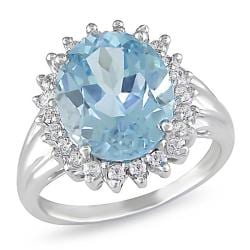 Miadora Sterling Silver Blue and White Topaz Fashion Ring