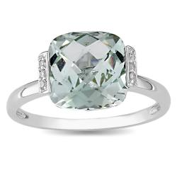 Miadora 10k White Gold Green Amethyst and Diamond Fashion Ring