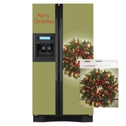 Appliance Art Holiday Wreath Combo Olive Refrigerator/ Dishwasher Covers