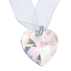 Crystale White Ribbon Crystal Heart Necklace