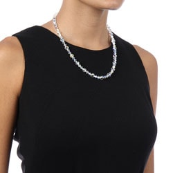 Crystale Silvertone Crystal Glass Bead Necklace