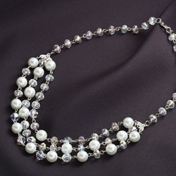 Crystale Silvertone Glass Pearl and Crystal 3-row Bib Necklace