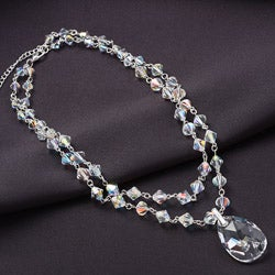 Crystale Silvertone Crystal Two-row Drop Necklace