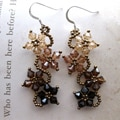 Sterling Silver Brown Crystal Flower Earrings (USA)