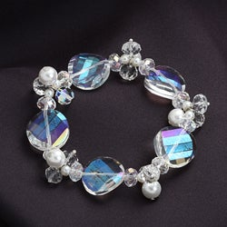 Crystale Silvertone Crystal and Glass Pearl Stretch Bracelet