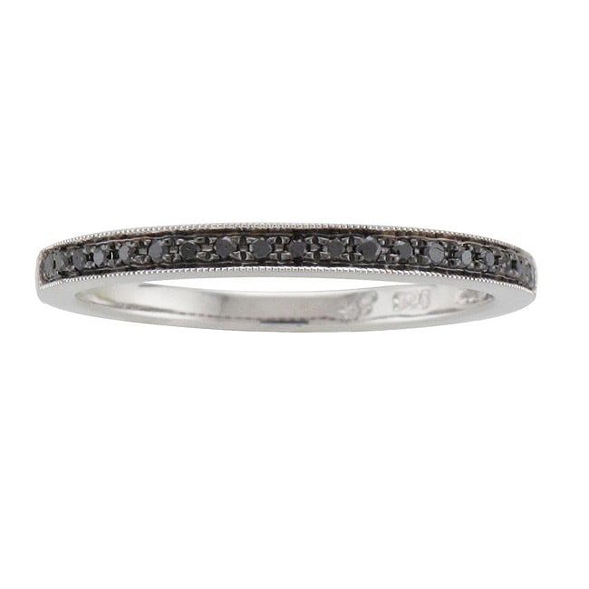 Unending Love Sterling Silver 1/10ct TDW Black Diamond Ring