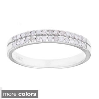 10k White Gold 1/4ct TDW Double Row Diamond Wedding Band (G-H, I1-I2)