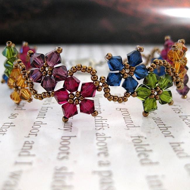 Stainless Steel Multicolor Delicate Crystal Flower Bracelet (USA)