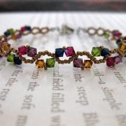 Stainless Steel ZigZac Multicolor Crystal Bracelet (USA)